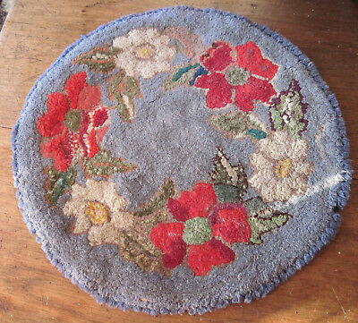 Antique Hand Hooked Handmade Wool Rug Mat Primitive Dollhouse Table or Chair