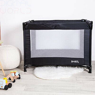 Red Kite Sleeptight Travel Cot Black Infant Playpen Tight Bed Top Rails Portable