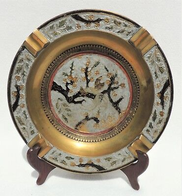 "Large 9.5"" Vintage Enamel Japanese Chinese Asian Heavy Brass Ashtray #4672"