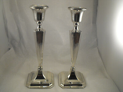 Pair of Large Art Deco solid silver candlesticks Chester 1920,  Clark & Sewell