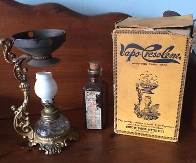 Oil Lamp-Antique Vapo Cresolene-1885-1888-Original-W/box & Vapo Medicine Bottle