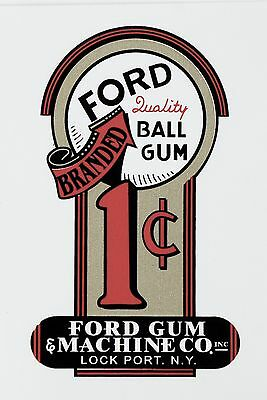Ford Quality Ball Gum One Cent. Vending, Coinop  Water Slide Decal # Df 1000