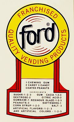 Ford, Blank. Gumball, Vending, Coin Op, Water Slide Decal # Df 1001