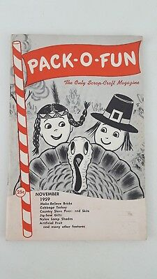 Vintage Pack-O- Fun Scrap-Craft Magazine November 1959, Crafting, Hobbie