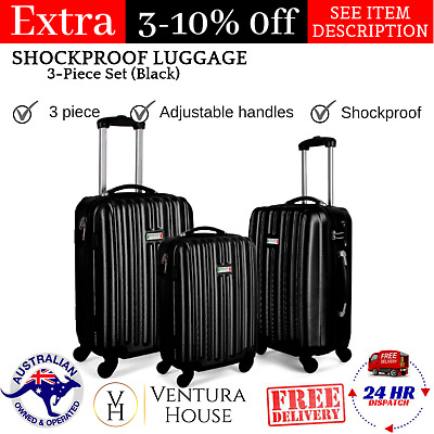 New Milano Durable Black Stylish Shockproof Luggage 3Pc Best Gift Set For Travel