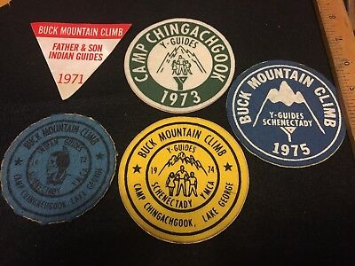 5 1970s YMCA Y-Indian Guides Patches Buck Mountain/Lake George/Camp Chingachgook