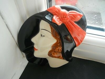 "CLARICE CLIFF STYLE ""ART DECO"" WALL MASK by MOORLAND -HAND PAINTED"