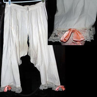 Antique 1800s Victorian Rare Pink Bow Lace Romantic Dress Split Bloomers W27