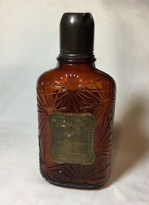 Vintage Pre Prohibition Old Crow Amber Glass Whiskey Bottle W/ Tin Cup, 3 Labels