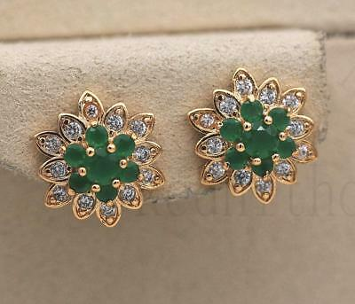 18K Gold Filled -Multilayer Flower Earrings Emerald Snowflake Ear Stud Jewelry