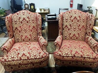 Handsome Pair of Charles Stewart Wingback Queen Anne Chairs
