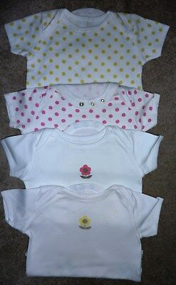 Four Mothercare Baby Girl Vests - Good Condition - 9-12 Months