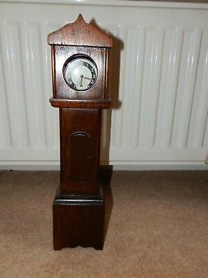 "ANTIQUE ARTS & CRAFTS 11"" TALL BABY GRANDFATHER CLOCK-ART + Ingersoll Watch"