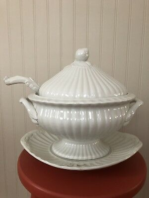 RED CLIFF Ironstone Oval Soup Tureen with Underplayed and Ladle, Acorn Pattern