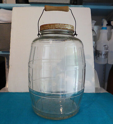 """Large Vintage Owens Illinois Glass """"Pickle Jar"""" with Wooden Handle"""