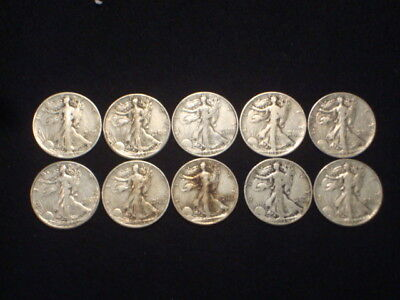 Walking Liberty Half Dollars Lot Of 10 Coins - 90% Silver - $5 Face Value  Wl4