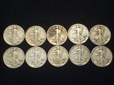 Walking Liberty Half Dollars Lot Of 10 Coins - 90% Silver - $5 Face Value  Wl2