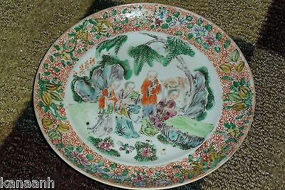 ANTIQUE CHINESE HAND PAINTED PLATE Probably 18th Cent