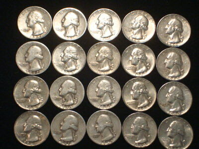 Washington Quarters Half Roll(20) Coins  $5 Face Value  90% Silver  Wl1