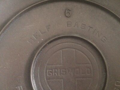 vintage Griswold cast iron #6 self basting lid with large logo