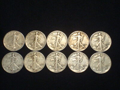 Walking Liberty Half Dollars Lot Of 10 Coins - 90% Silver - $5 Face Value  Wl1