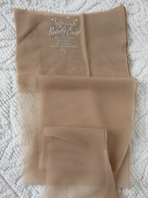 "Vintage Beverly Craige Fully Fashioned Seamed Stockings, Size 9.5""/32 Light Tan"