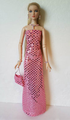 CAMI & Antoinette Doll Clothes GOWN, Beaded PURSE & JEWELRY Fashion NO DOLL d4e
