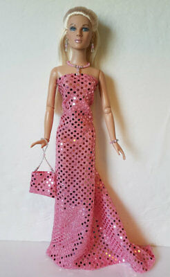 TYLER Doll Clothes - Pink Gown, Hand-beaded Purse & Jewelry Fashion NO DOLL d4e