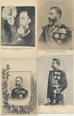 4 ROMANIA Royalty RPPC Charles Karol Ferdinand LOT 2