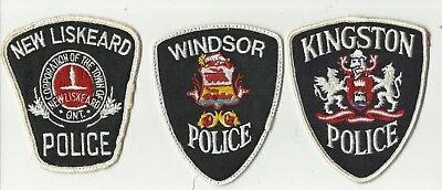 New Liskeard / Windsor / Kingston (ONTARIO) Police Patches (USED)