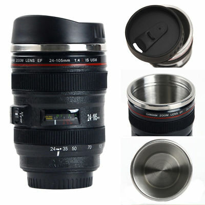 Camera Lens Thermos As Canon EF 24-105mm Coffee Mug Cup Stainless w Drinking Lid