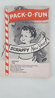 Vintage Pack-O- Fun Scrap-Craft Magazine January 1960 Arts And Crafts