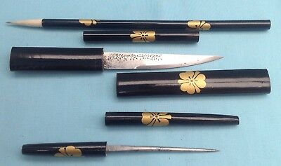 A2009 Antique Japanese Meji Period Lacquer Traditional Calligraphy Tools