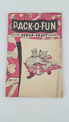 Vintage Pack-O- Fun Scrap-Craft Magazine May 1957 Arts And Crafts