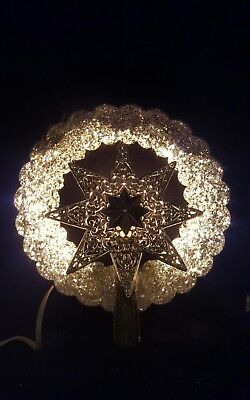 Vintage Christmas Lighted Star Tree Topper Jewelbrite Electrified Glitter Pink