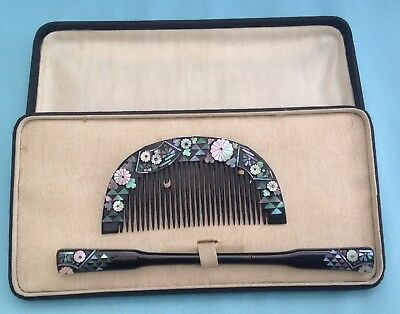 H0099A Traditional Antique Japanese Kushi & Kogai Hair Set Boxed
