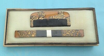 H1211A Antique Japanese Edo Period Kanzashi & Kushi Hair Ornaments Boxed