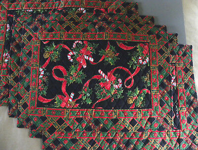 Christmas Holiday Placemats  Candy Canes and Holly Vera Bradley SET OF EIGHT 8