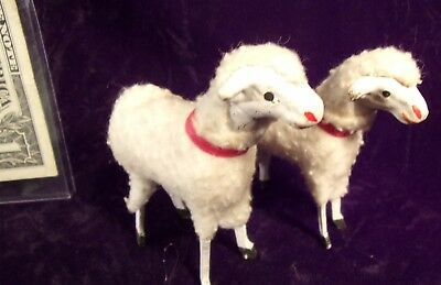 Vintage Christmas Made In Germany , A Pair Of Matchstick Sheep By Putz