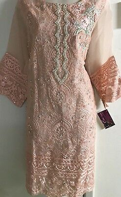 Agha Noor  Original Formal Pink Embroidered Kurti Size L Chest 22 Inches