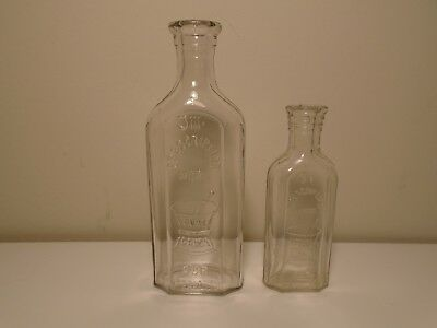 Vintage LOT of 2 PRESCRIPTION WORK OUR SPECIALTY PURE DRUGS Clear Bottles NICE!!