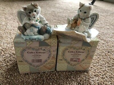 enesco calico kittens Lot Of 2 Christmas Angels Joy To The World & A Loving Gift