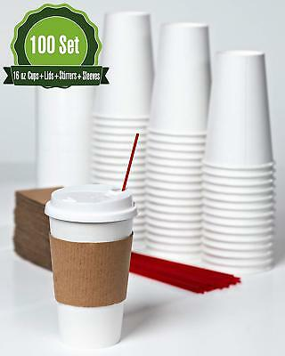 Hot White Paper Coffee Cups with Lids, Stirrers, and Sleeves. [ 16 oz -100 Set ]