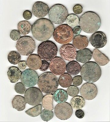(LOT Of 42)  ROMAN COINS DUG IN SPAIN SOME RAW SOME TREATED WITH ELECTROLYSIS