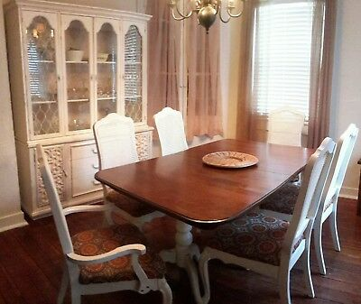 SHABBY VIN ETHAN ALLEN WOOD Cherry Dining Table 6 Cane Back Chairs Buffet/Hutch