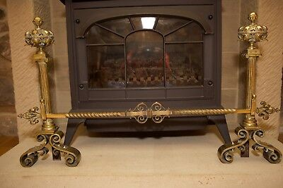 PAIR OF ANTIQUE French /VINTAGE BRASS AND CAST IRON ANDIRONS, FIRE DOGS firedogs