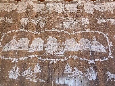 "Vintage Christmas Tablecloth White Lace Table Topper Colonial Village 58"" X 104"""