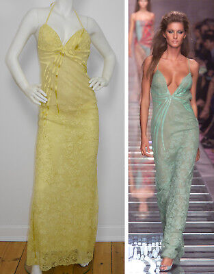 GIANNI VERSACE Couture Vintage Abendkleid Evening Dress Gown Yellow Lace 36/S