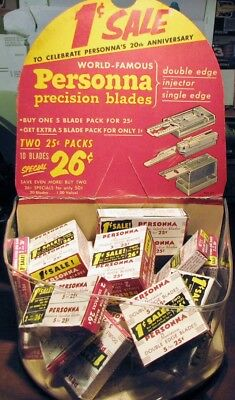 Vintage Store Display PERSONNA PRECISION RAZOR BLADE Double-Single Edge-Injector