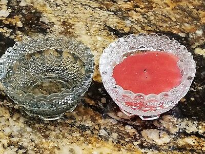 Awesome Vintage Pair Fenton Crystal Clear Smoky Glass Votive Candle Holder Cup